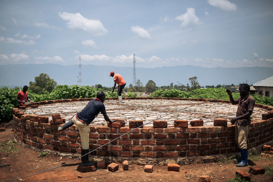 Construction of a water platform in Fizi, DRC. Credit: Alexis Huguet/Oxfam