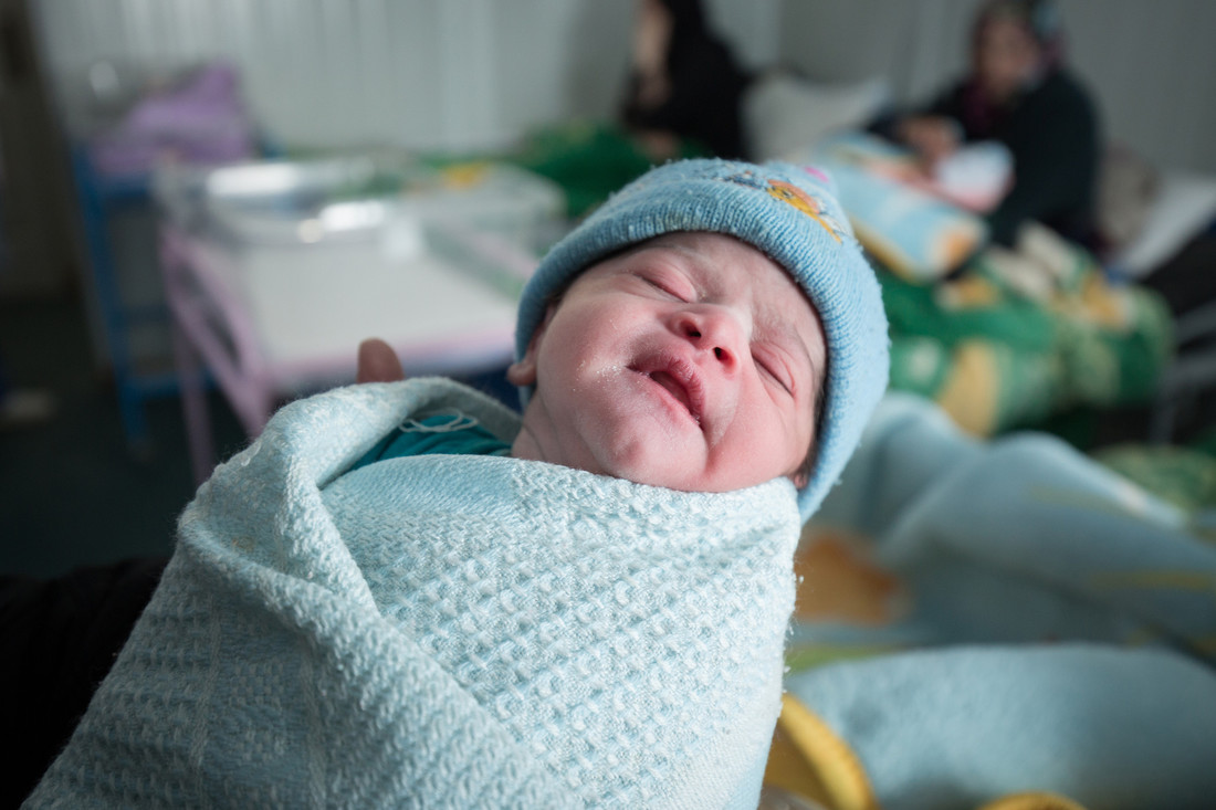 A new born babay in Za'atari refugee camp, Jordan