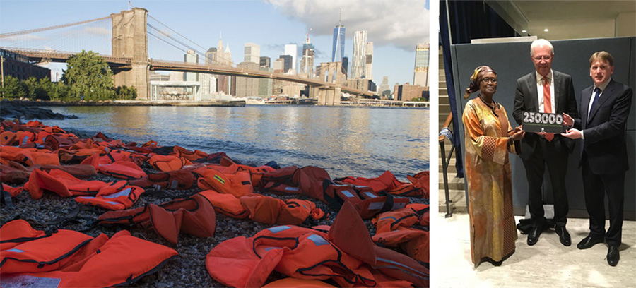 Left: Hundreds of life jackets collected from the beaches of Chios in Greece, on Pebble Beach, Brooklyn Bridge Park. Photo: Darren Ornitz Photography; Right: Oxfam International Executive Director Winnie Byanyima and Oxfam Ireland Chief Executive Jim Clar