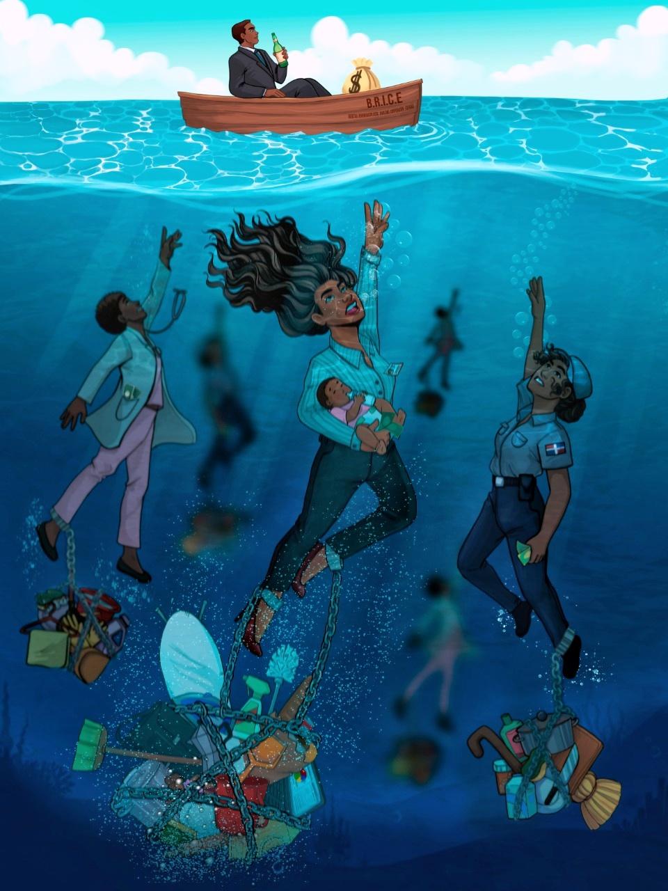 """La ganadora del primer lugar es Desireé Alexandra Gneco De La Cruz, por su ilustración """"El Peso de la Desigualdad"""""""