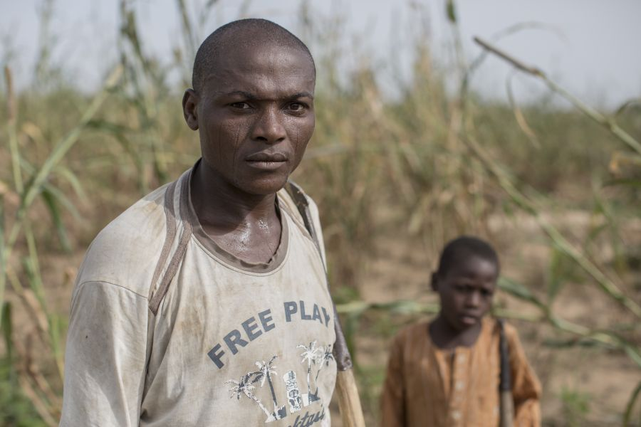 Hassan*, 35, a father of six, with his sons, in the field he rents on the outskirts of Maiduguri, Nigeria.