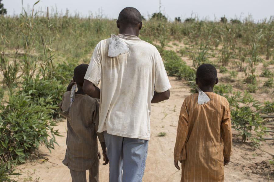 Hassan (nombre ficticio), de 35 años, recorre con sus hijos las tierras alquiladas que cultiva a las afueras de Maiduguri (Nigeria). Foto: Sam Tarling/Oxfam