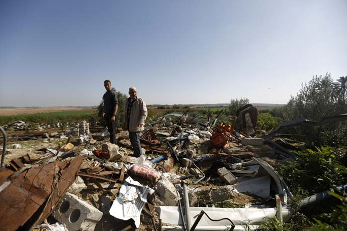 A farm completely destroyed during the Israeli bombing in September 2014