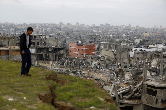 View over Gaza and destroyed buildings