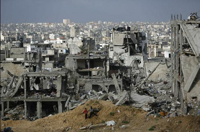 Damaged building in Gaza