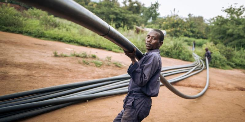 Oxfam recently started the construction of a more than 100-kilometres-long gravity-fed water supply system, that will provide safe water to some of the most remote locations in DRC.