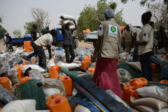 In Yola, Nigeria, Oxfam and local partner Civil Society Coalition for Poverty Eradication (CISCOPE) provide essential items including soap, jerry cans, and sleeping mats to people displaced by violence in the region.