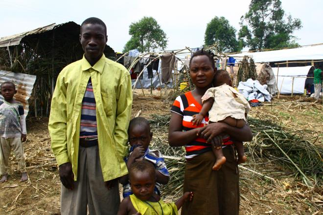 Yacobo, Banyele and three of their children in the refugee camp.