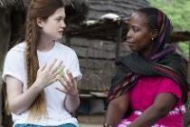 Bonnie Wright chats with Dieynasa Ba. Photo: Harry Borden/Oxfam