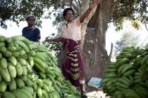 Faith with her bananas in Chiawa, Zambia