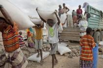 An Oxfam truck of livestock feed is unloaded, Siti Zone, Ethiopia