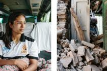 Roshana Manandhar (20) lives in a bus, after her home was destroyed by an earthquake on 25th May, in Nepal. Photo: Aubrey Wade/Oxfam
