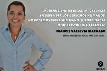 Francis Valdivia, habla sobre la situación de los derechos de las trabajadoras de maquilas, ella conoce muy bien esta realidad porque es abogada del bufete jurídico del Movimiento de Mujeres María Elena Cuadra. Foto: Oxfam