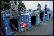 Puerto Montt: shrines. Popular belief here is, that when a person is murdered, they die too soon and their spririt remains on earth. If the murder victim was a good person, then their spirit can do good deeds. Photo credit: Toby Adamson/Oxfam
