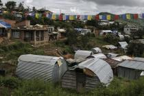 Temporary shelters in the village of Burunchili, Nepal, on August 28, 2015. Photo: Sam Tarling/Oxfam