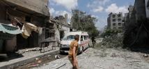 Ambulance détruite à Gaza.