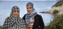 Fatima, 47 and her daughter Maisa, 19, are Syrians from Pakistan.