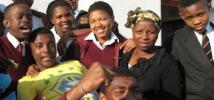 Group of girls and boys participating in the Rape Crisis initiative, in South Africa