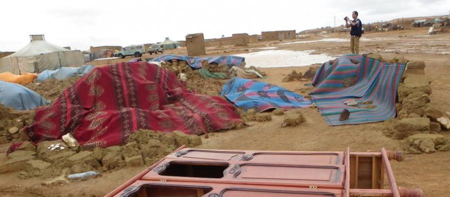 Le camp de Dakhla, près de Tindouf, en Algérie. En 2015, des inondations sans précédent ont causé d'importantes destructions dans les camps de réfugiés sahraouis.