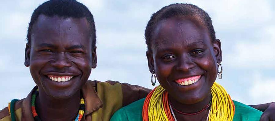 Woman and man from Uganda posing