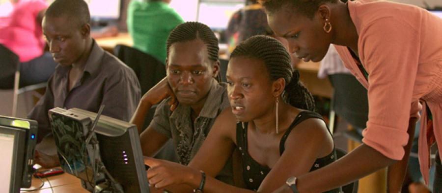 Inside an Internet Now! supercenter in Gulu University