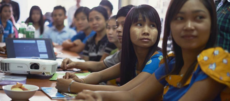 Garment workers at the workers rights training centre, Myanmar.