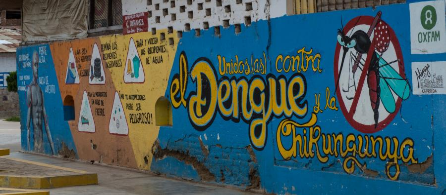 A mural in Batán Grande funded by Oxfam partner CEPRODA MINGA and painted by local youth as part of a Dengue virus prevention campaign