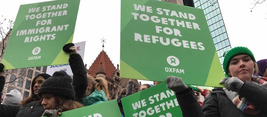 Activists protesting the executive order barring refugees from the US on Sunday, January 29 in Boston's Copley Square. Photo: Lauren Levine / Oxfam