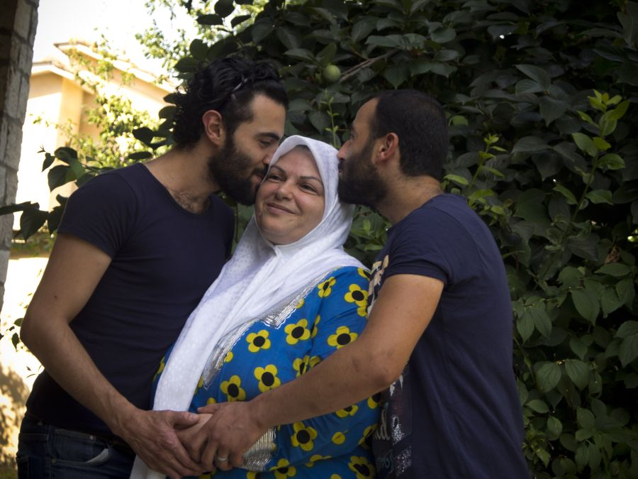 Mohammed, Mouhib and their mother Malak.
