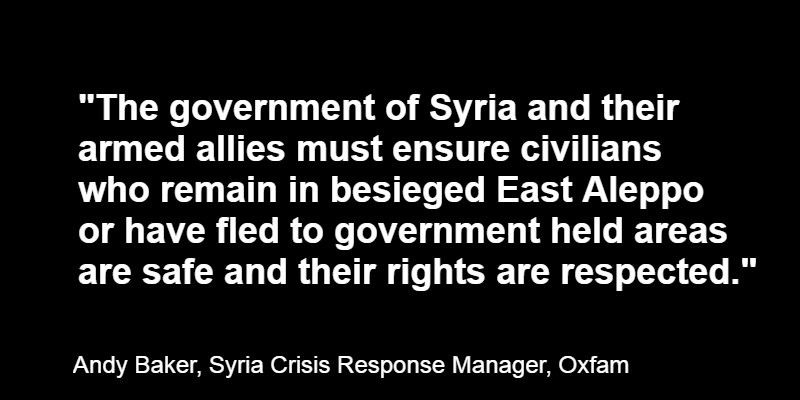 Civilians in Aleppo and elsewhere in Syria must be given safe passage.